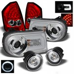 Chrysler 300C 2005-2007 Chrome Headlights DRL and Red Clear LED Tail Lights and Halo Fog Lights
