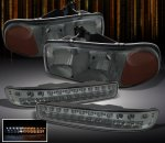 GMC Sierra 3500 2001-2006 Smoked Euro Headlights and LED Bumper Lights
