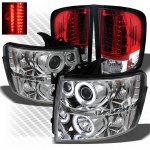 Chevy Silverado 2007-2013 Chrome CCFL Halo Headlights and Red Clear LED Tail Lights