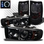 2001 Dodge Ram 2500 Smoked Projector Headlights and LED Tail Lights