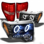 2010 Ford F150 Black CCFL Halo Headlights and Red Clear LED Tail Lights