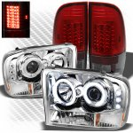 2002 Ford F250 Super Duty Chrome CCFL Halo Headlights and Red Smoked LED Tail Lights