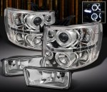 Chevy Silverado 2500HD 2007-2013 Clear Halo Projector Headlights and Fog Lights