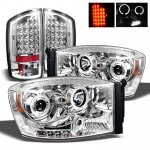2007 Dodge Ram Chrome Projector Headlights and LED Tail Lights