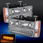 Chevy 1500 Pickup 1988-1993 Clear Euro Headlights and LED Bumper Lights