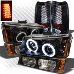 2003 Chevy Silverado Black CCFL Halo Headlights Bumper Lights and LED Tail Lights