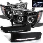 Toyota Tundra 2007-2013 Black Halo Projector Headlights and LED Daytime Running Lights
