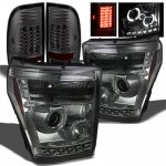2011 Ford F450 Super Duty Smoked Projector Headlights and LED Tail Lights