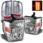 2010 Ford F450 Super Duty Chrome Projector Headlights and LED Tail Lights