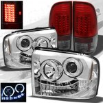 2007 Ford F350 Super Duty Chrome Projector Headlights and Red Smoked LED Tail Lights