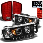 2002 Dodge Ram Black Projector Headlights and Red LED Tail Lights