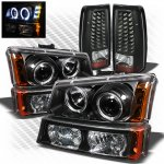 2003 Chevy Silverado Black Projector Headlights Bumper Lights and LED Tail Lights