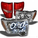 2010 Ford F150 Chrome CCFL Halo Headlights and Red Clear LED Tail Lights