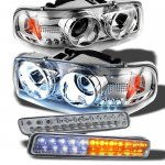 2000 GMC Sierra Chrome Projector Headlights and LED Bumper Lights