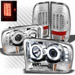 2001 Ford F250 Super Duty Chrome CCFL Halo Headlights and LED Tail Lights