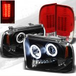 2007 Ford F350 Super Duty Black CCFL Halo Headlights and Red Clear LED Tail Lights
