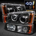 Chevy Silverado 2500HD 2003-2006 Black Halo Projector Headlights and Bumper Lights