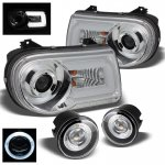 Chrysler 300C 2005-2010 Chrome Projector Headlights LED DRL and Halo Fog Lights