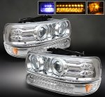 Chevy Silverado 1999-2002 Clear Projector Headlights and LED Bumper Lights