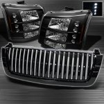 2005 Chevy Avalanche Black Vertical Grille and Headlight Conversion Kit
