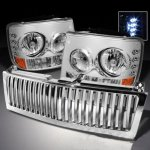 Chevy Silverado 1999-2002 Chrome Vertical Grille and Headlights with LED
