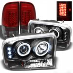 2002 Ford F250 Super Duty Black CCFL Halo Headlights and Red Smoked LED Tail Lights