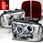 2005 Ford F250 Super Duty Chrome CCFL Halo Headlights and Red Clear LED Tail Lights
