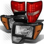 2013 Ford F150 Black Headlights and Red Clear LED Tail Lights