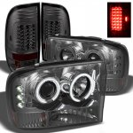 2002 Ford F250 Super Duty Smoked CCFL Halo Headlights and LED Tail Lights