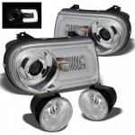 Chrysler 300C 2005-2010 Chrome Projector Headlights LED DRL and Fog Lights