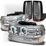2000 Chevy Silverado Chrome Projector Headlights Bumper Lights and LED Tail Lights