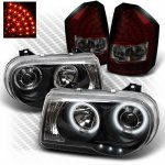 Chrysler 300C 2008-2010 Black CCFL Halo Headlights and Red Smoked LED Tail Lights