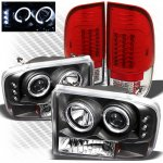 2001 Ford F250 Super Duty Black CCFL Halo Headlights and Red Clear LED Tail Lights
