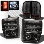 2010 Ford F450 Super Duty Smoked Halo Projector Headlights and LED Tail Lights