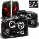 2007 Ford F350 Super Duty Black Halo Headlights and Tail Lights