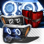2010 Ford F150 Black CCFL Halo Headlights and Red Smoked LED Tail Lights