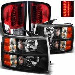 Chevy Silverado 2007-2013 Black Headlights and Red Clear LED Tail Lights