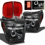 2011 Ford F450 Super Duty Black Projector Headlights and Red Clear LED Tail Lights