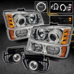 Chevy Silverado 2003-2006 Clear Halo Projector Headlights Set and Fog Lights