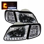 2002 Ford F150 Clear Euro Headlights and LED Corner Lights Set