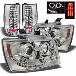 Chevy Tahoe 2007-2014 Chrome Halo Projector Headlights and LED Tail Lights