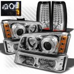 2003 Chevy Silverado Chrome CCFL Halo Headlights Bumper Lights and LED Tail Lights