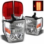2010 Ford F450 Super Duty Chrome Projector Headlights and Red Clear LED Tail Lights