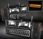 GMC Sierra 1994-1998 Black Euro Headlights and LED Bumper Lights