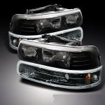 Chevy Suburban 2000-2006 Black Crystal Headlights and Bumper Lights