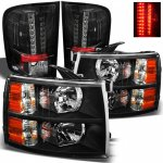 Chevy Silverado 3500HD 2007-2013 Black Headlights and LED Tail Lights
