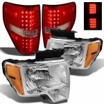 2013 Ford F150 Chrome Headlights and Red Clear LED Tail Lights