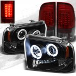 2007 Ford F350 Super Duty Black CCFL Halo Headlights and LED Tail Lights Red Smoked