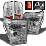 2011 Ford F450 Super Duty Chrome Projector Headlights and LED Tail Lights