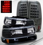 2001 Chevy Silverado Black Headlights and Smoked LED Tail Lights